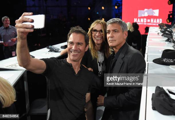 In this handout photo provided by Hand in Hand Eric McCormack Julia Roberts and George Clooney attend Hand in Hand A Benefit for Hurricane Relief at...