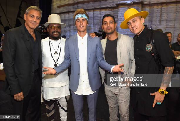 In this handout photo provided by Hand in Hand George Clooney Apldeap Justin Bieber Wilmer Valderrama and Taboo attend Hand in Hand A Benefit for...