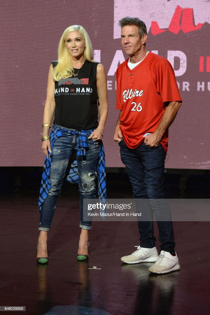 In this handout photo provided by Hand in Hand, Gwen Stefani and Dennis Quaid attend Hand in Hand: A Benefit for Hurricane Relief at Universal Studios AMC on September 12, 2017 in Universal City, California.
