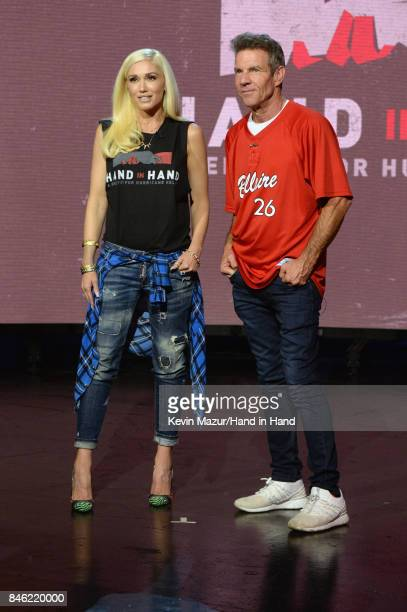 In this handout photo provided by Hand in Hand Gwen Stefani and Dennis Quaid attend Hand in Hand A Benefit for Hurricane Relief at Universal Studios...