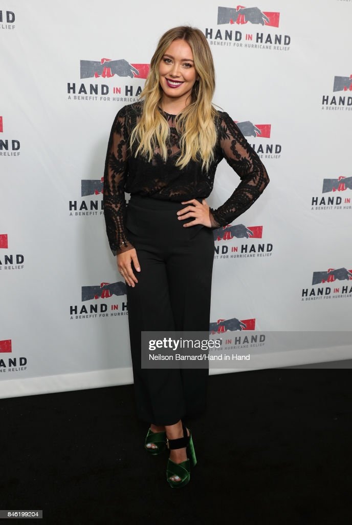 In this handout photo provided by Hand in Hand, Hilary Duff attends Hand in Hand: A Benefit for Hurricane Relief at Universal Studios AMC on September 12, 2017 in Universal City, California.