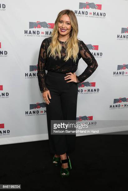 In this handout photo provided by Hand in Hand Hilary Duff attends Hand in Hand A Benefit for Hurricane Relief at Universal Studios AMC on September...
