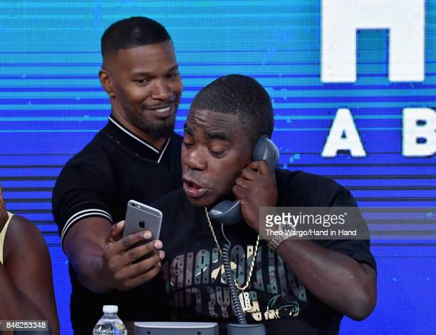 In this handout photo provided by Hand in Hand Jamie Foxx and Tracy Morgan caption at ABC News' Good Morning America Times Square Studio on September...