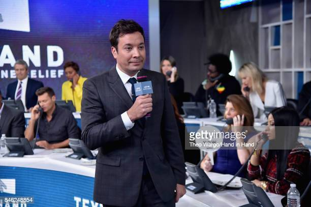 In this handout photo provided by Hand in Hand, Jimmy Fallon caption at ABC News' Good Morning America Times Square Studio on September 12, 2017 in...