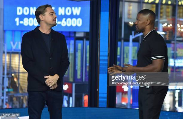 In this handout photo provided by Hand in Hand, Leonardo DiCaprio and Jamie Foxx attends Hand in Hand: A Benefit for Hurricane Relief at ABC News'...