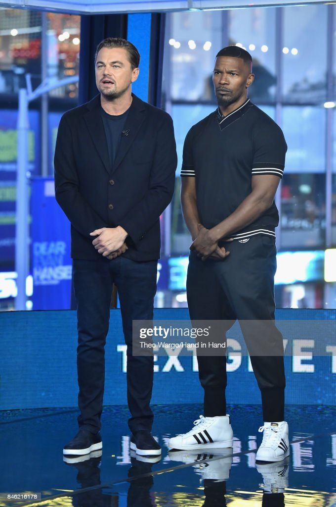 In this handout photo provided by Hand in Hand, Leonardo DiCaprio and Jamie Foxx attends Hand in Hand: A Benefit for Hurricane Relief at ABC News' Good Morning America Times Square Studio on September 12, 2017 in New York City.