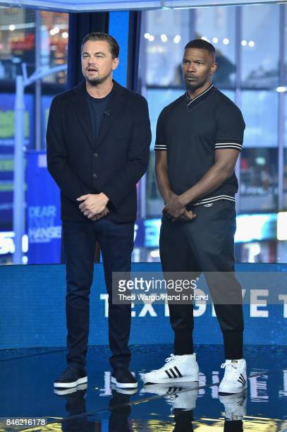 In this handout photo provided by Hand in Hand Leonardo DiCaprio and Jamie Foxx attends Hand in Hand A Benefit for Hurricane Relief at ABC News' Good...