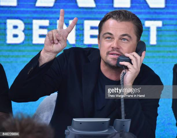 In this handout photo provided by Hand in Hand Leonardo DiCaprio attends Hand in Hand A Benefit for Hurricane Relief at ABC News' Good Morning...