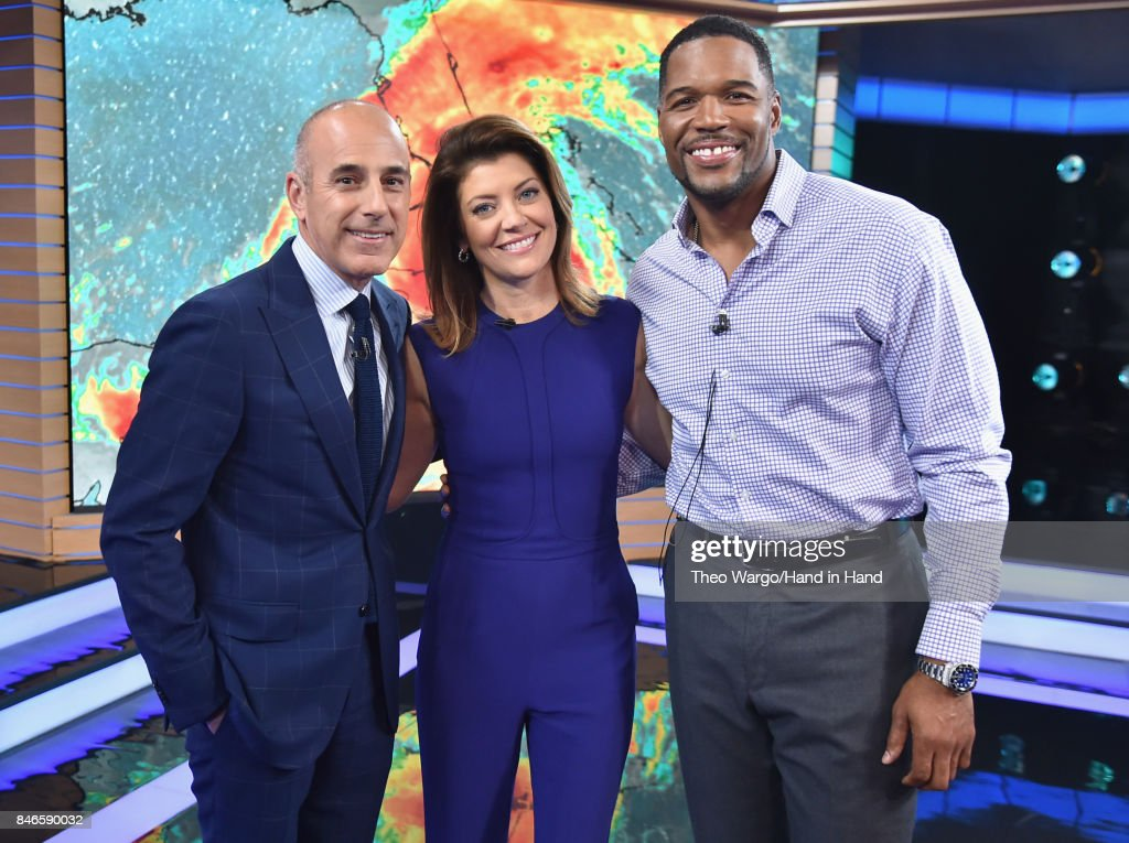 In this handout photo provided by Hand in Hand, Matt Lauer, Norah O'Donnell, and Michael Strahan caption on at ABC News' Good Morning America Times Square Studio on September 12, 2017 in New York City.