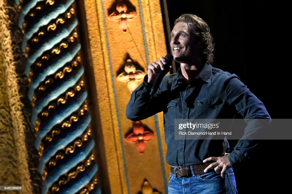 In this handout photo provided by Hand in Hand, Matthew McConaughey speaks onstage during George Strait's Hand in Hand Texas benefit concert; Strait and special guests Miranda Lambert, Chris Stapleton, Lyle Lovett and Robert Early Keen perform in concert at the Majestic Theatre on September 12, 2017 in San Antonio, Texas.