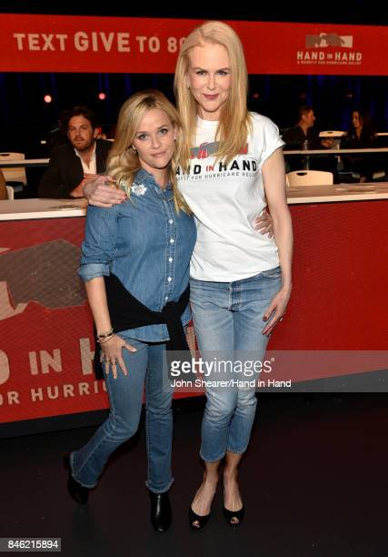 In this handout photo provided by Hand in Hand Reese Witherspoon and Nicole Kidman attend Hand in Hand A Benefit for Hurricane Relief at the Grand...