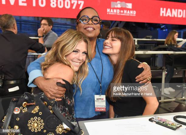 In this handout photo provided by Hand in Hand, Rita Wilson, Oprah Winfrey and Sofia Vergara attend Hand in Hand: A Benefit for Hurricane Relief at...