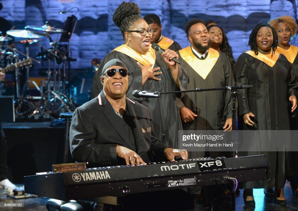 In this handout photo provided by Hand in Hand, Stevie Wonder performs during Hand in Hand: A Benefit for Hurricane Relief at Universal Studios AMC on September 12, 2017 in Universal City, California.
