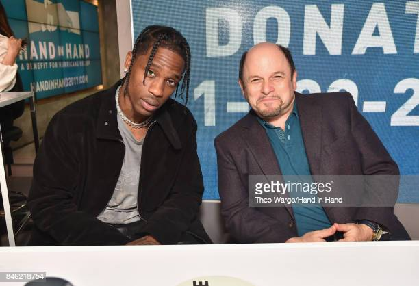 In this handout photo provided by Hand in Hand Travis Scott and Jason Alexander attends Hand in Hand A Benefit for Hurricane Relief at ABC News' Good...