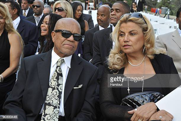 In this handout photo provided by Harrison Funk/The Jackson Family Music Producer Berry Gordy and Music Producer Suzanne De Passe attend Michael...