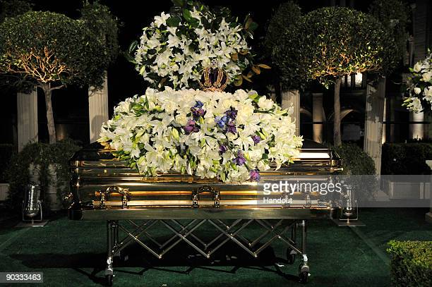In this handout photo provided by Harrison Funk/The Jackson Family Michael Jackson's casket rests during the funeral service held at Glendale Forest...