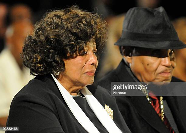 In this handout photo provided by Harrison Funk/The Jackson Family Katherine Jackson and Joe Jackson attend Michael Jackson's funeral service held at...