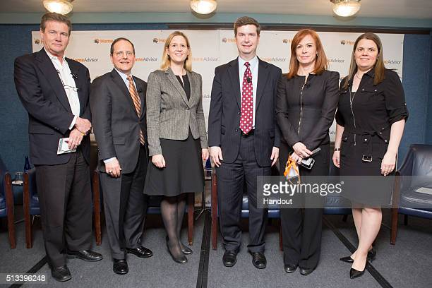 In this handout photo provided by HomeAdvisor members of the first panel left to right Mark Richardson Senior Industry Fellow at Harvard's Joint...