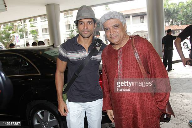 In this handout photo provided by IIFA Farhan and Javed Akhtar arriving at the Videocon IIFA Weekend 2012 of the IIFA Awards on June 7 2012 in...