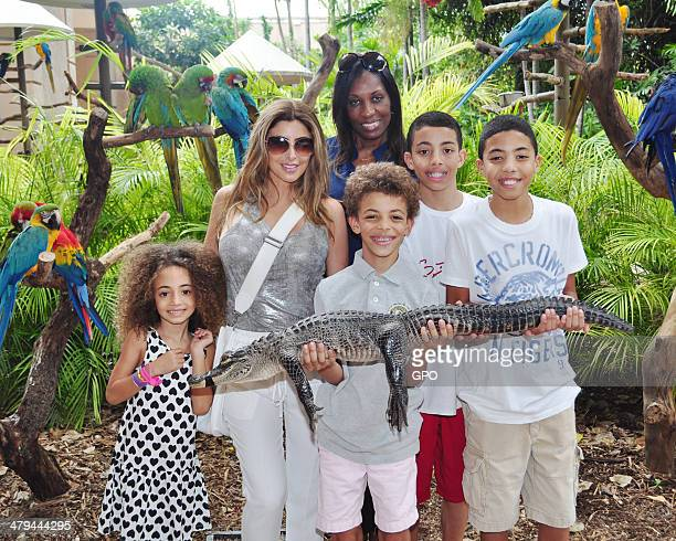 In this handout photo provided by Jungle Island wife of Scottie Pippen and former Real Housewives of Miami castmember Larsa Pippen enjoys a tour of...