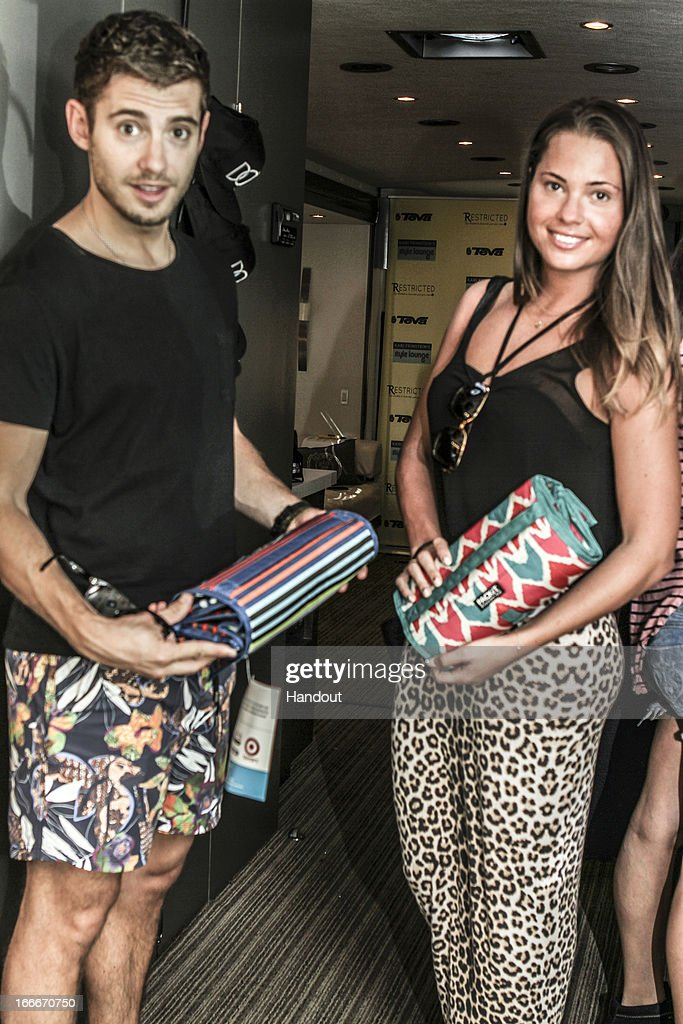 In this handout photo provided by Kari Feinstein PR, Julian Morris and sister Amy Morris with Pack It attends the Kari Feinstein's style lounge on the road in the desert April 14, 2013 near Indio, California.