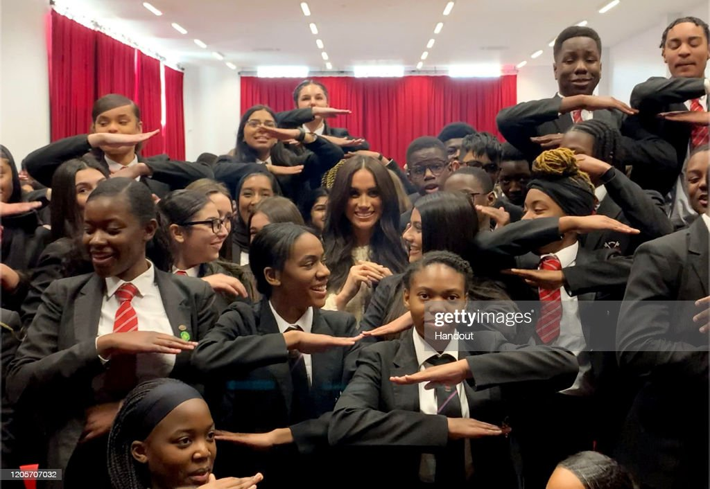 The Duchess Of Sussex Meets Students At A School In Dagenham : News Photo