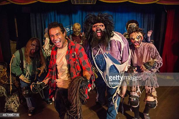 In this handout photo provided by Knott's Scary Farm Corbin Bleu to transforms into a gruesome Ghost Town monster and haunts unsuspecting guests at...