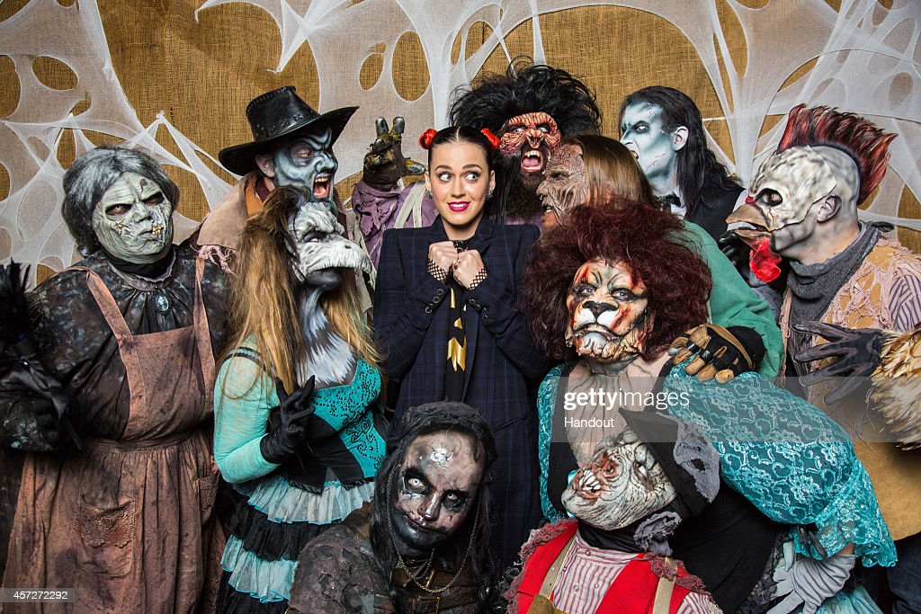 In this handout photo provided by Knott's Scary Farm, Katy Perry visits Knott's Scary Farm October 11, 2014 in Buena Park, California.