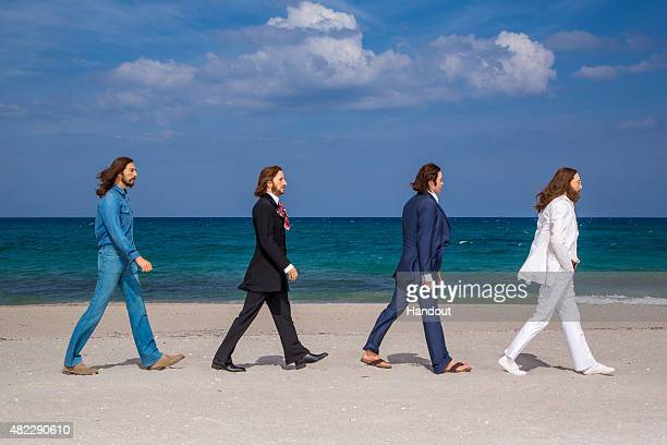 In this handout photo provided by Madame Tussauds Orlando Here Comes The Sun The Beatles as Madame Tussauds wax figures depicting John Lennon Paul...