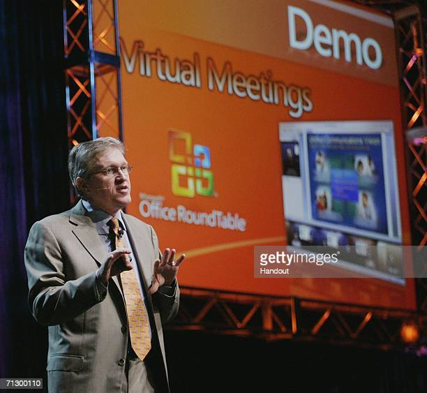 In this handout photo provided by Microsoft Corp Microsoft Business Division President Jeff Raikes demonstrates video conferencing using Microsoft...