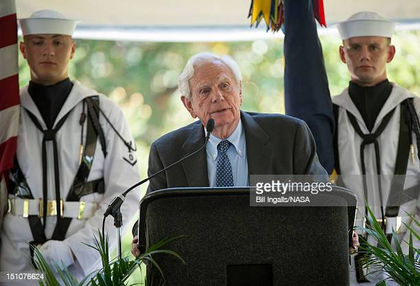 In this handout photo provided by NASA businessman and friend of Neil Armstrong Charles Mechem speaks during a memorial service celebrating the life...