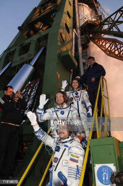 In this handout photo provided by NASA Expedition 14 Commander Michael LopezAlegria Soyuz Commander and Expedition Flight Engineer Mikhail Tyurin and...
