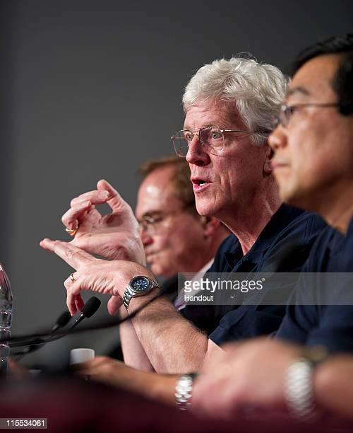 In this handout photo provided by NASA Gary Lagerloef Aquarius Principal Investigator Earth Space Research speaks during the Aquarius/SACD mission...