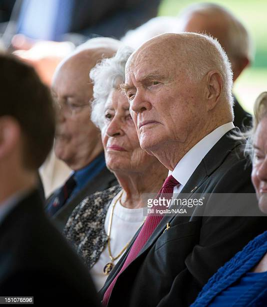 In this handout photo provided by NASA Sen John Glenn and his wife Annie listen during a memorial service celebrating the life of Neil Armstrong at...