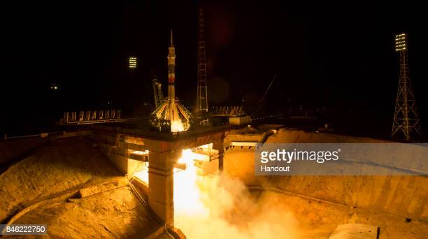 In this handout photo provided by NASA The Soyuz MS06 spacecraft launches from the Baikonur Cosmodrome with Expedition 50 crewmembers Joe Acaba of...