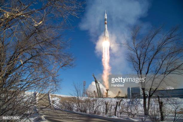 In this handout photo provided by NASA the Soyuz MS07 rocket is launched with Expedition 54 Soyuz Commander Anton Shkaplerov of Roscosmos flight...