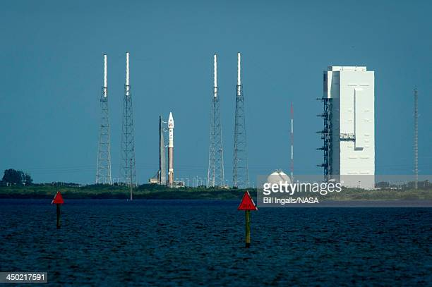 In this handout photo provided by NASA, The United Launch Alliance Atlas V rocket with NASA's Mars Atmosphere and Volatile Evolution spacecraft...