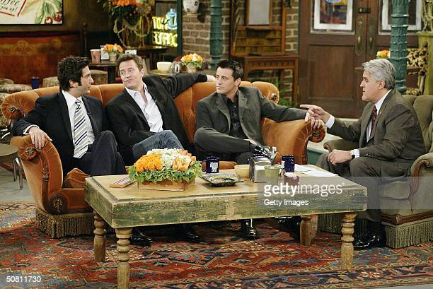 "In this handout photo provided by NBC, actors David Schwimmer, Matthew Perry and Matt LeBlanc sat down with Jay Leno for a special ""Tonight Show,"" on..."