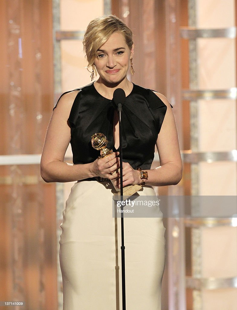 In this handout photo provided by NBC, actress Kate Winslet accepts award for Best Actress - Mini-Series or TV Movie 'Mildred Pierce' onstage during the 69th Annual Golden Globe Awards at the Beverly Hilton International Ballroom on January 15, 2012 in Beverly Hills, California.