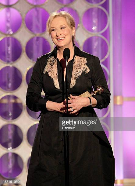 In this handout photo provided by NBC actress Meryl Streep accepts the Best Actress Motion Picture Drama The Iron Lady onstage during the 69th Annual...