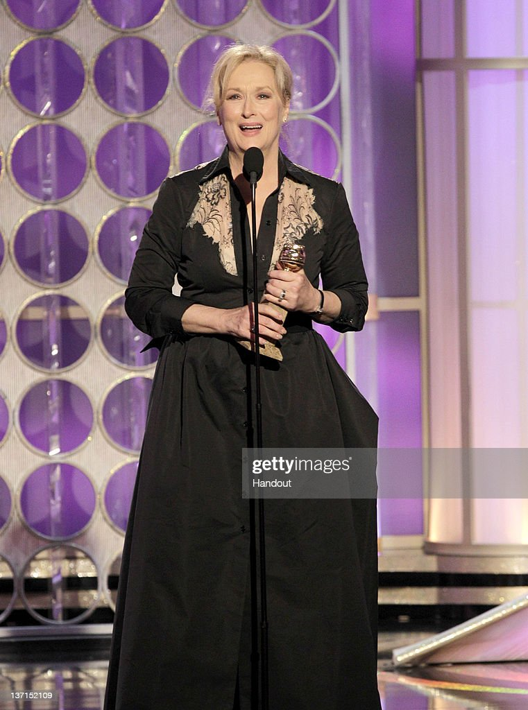 In this handout photo provided by NBC, actress Meryl Streep accepts the Best Actress - Motion Picture, Drama 'The Iron Lady' onstage during the 69th Annual Golden Globe Awards at the Beverly Hilton International Ballroom on January 15, 2012 in Beverly Hills, California.