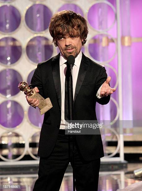 In this handout photo provided by NBC Peter Dinklage accepts the award for Best Supporting Actor Series/MiniSeries/TV Movie Game of Thrones onstage...