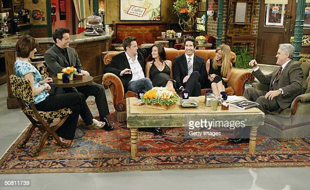 "In this handout photo provided by NBC, the cast of ""Friends"", actors Lisa Kudrow, Matt LeBlanc, Matthew Perry, Courteney Cox-Arquette, David..."