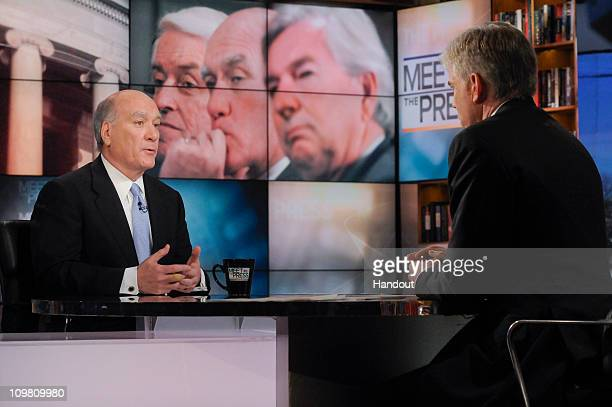 In this handout photo provided by NBC Universal White House Chief of Staff Bill Daley talks with David Gregory on 'Meet the Press' March 6 2011 in...