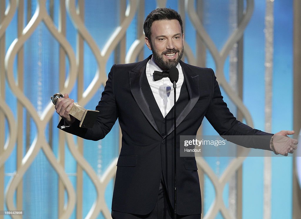 In this handout photo provided by NBCUniversal, Actor Ben Affleck accepts the Best Director award for Motion Picture, 'Argo' on stage during the 70th Annual Golden Globe Awards at the Beverly Hilton Hotel International Ballroom on January 13, 2013 in Beverly Hills, California.