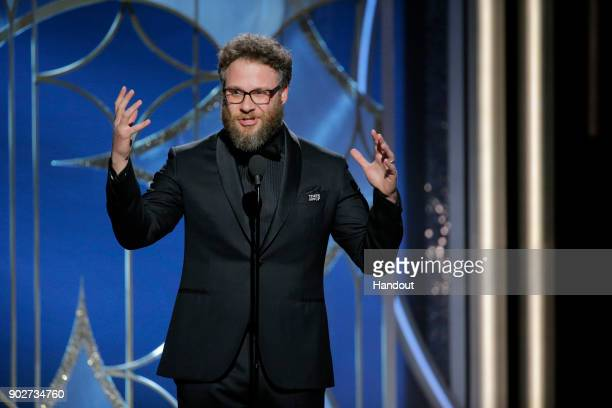 In this handout photo provided by NBCUniversal Actor Seth Rogen speaks onstage during the 75th Annual Golden Globe Awards at The Beverly Hilton Hotel...
