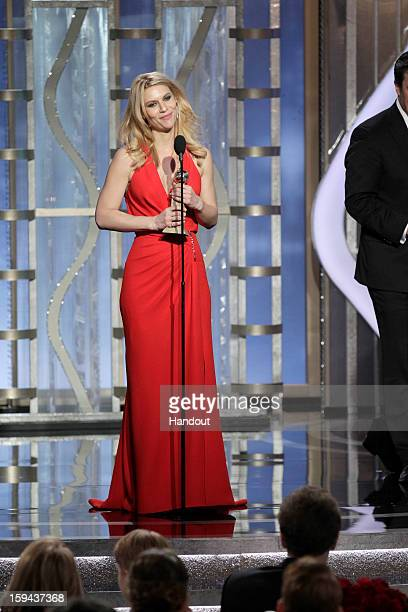 In this handout photo provided by NBCUniversal Actress Claire Danes accepts the Best Actress award for TV Series Drama Homeland on stage during the...