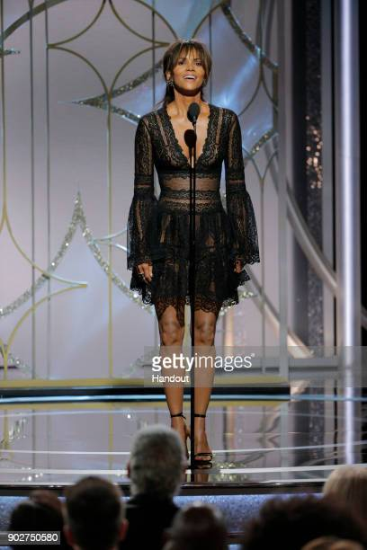 In this handout photo provided by NBCUniversal Actress Halle Berry speaks onstage during the 75th Annual Golden Globe Awards at The Beverly Hilton...