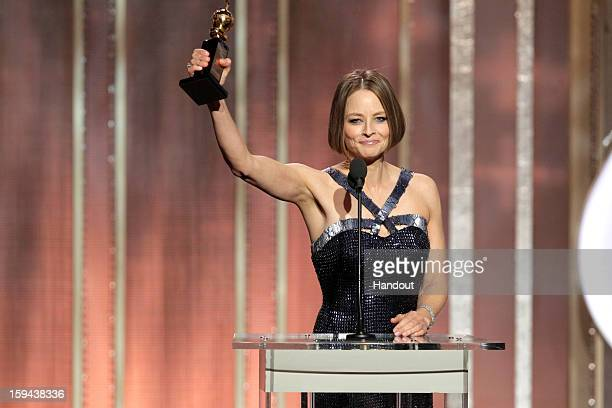 In this handout photo provided by NBCUniversal, Actress Jodie Foster receives the Cecil B. Demille Award on stage during the 70th Annual Golden Globe...