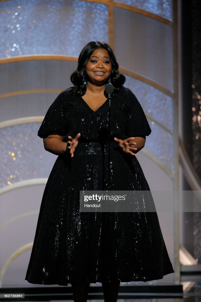 In this handout photo provided by NBCUniversal, Actress Octavia Spencer speaks onstage during the 75th Annual Golden Globe Awards at The Beverly Hilton Hotel on January 7, 2018 in Beverly Hills, California.